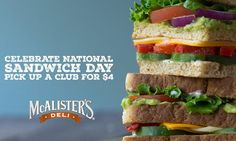 Founded in McAlister's Deli is a fast casual restaurant chain known for its sandwiches, spuds, soups, salads, desserts and McAlister's Famous Sweet Tea. Fast Casual Restaurant, Casual Restaurants, Mcalister's Deli, National Sandwich Day, Edible Art, Sweet Tea, Thursday, Sandwiches, Club