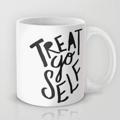 Treat Yo Self by Leah Flores word art print poster black white motivational quote inspirational words of wisdom motivationmonday Scandinavian fashionista fitness inspiration motivation typography home decor