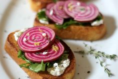 Roasted Beets on Ciabatta with Goat Cheese and Arugula