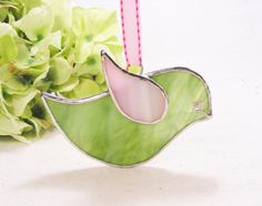 NEW Sage and Pink Birdie with Ribbon or as Plant by MoreThanColors, $22.00