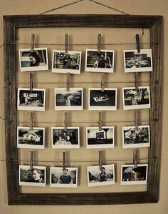 DIY Photo Frame Love the look of clothes pins Stylish Photo Frames, Diy Casa, Decoration Originale, Home And Deco, Photo Displays, Display Photos, Hang Photos, Hang Pictures, Frame Display