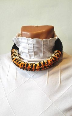 beaded necklace tiger beaded crochet necklace gift for her
