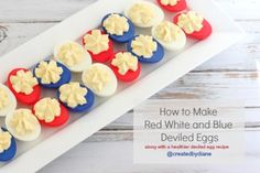 How to make Red White and Blue Deviled Eggs @createdbydiane #eggs #july4 #patriotic #redwhiteblue #recipe #healthy