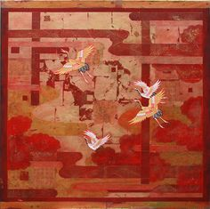"""""""It's play for the cranes  flying up to the clouds  the year's first sunrise""""  Chiyo-ni   (1701 ~ 1775)  Mixed Media and Kimono on Canvas  122cm x 122cm  2014   Nerina Lascelles  Tumblr"""