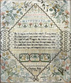 A George III needlework sampler worked in coloured silks by Charlotte Balls, 1792, with an uplifting verse, alphabet and numbers, within an hexagonal cartouche, the corners with flowering plants issuing from cornucopia and tied with ribbons, 13.75ins x 11.5ins, and three other samplers, various