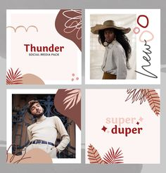 The earthy, light and elegant Thunder social media pack is here. Simplicity combined with vibrant elegance is the key to this season success. Stay on-trend, be playful and enjoy creating magically beautiful feeds. Social Media Branding, Social Media Banner, Social Media Template, Social Media Graphics, Social Media Marketing, Instagram Design, Social Media Design, Social Media Trends, Banners