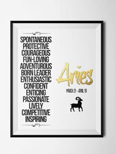 Aries Qualities Print: Aries Qualities, Qualities Print, Zodiac Aries, Aries Ain T, Zodiac Signs Gemini Aries, Aries Zodiac, Astrology, Products, Zodiac Prints