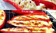 Red Pepper with Cheddar Recipe, Dessert recipes Appetizer Recipes, Snack Recipes, Snacks, Dessert Recipes, Catering, Dukan Diet Recipes, Food Articles, Breakfast Items, Turkish Recipes