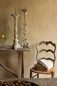 I love the beige wall treatment, candleholders