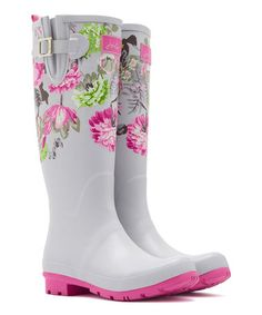 Loving this Gray Floral Buckle Floral Rain Boot - Women on #zulily! #zulilyfinds