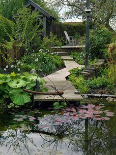 An organic garden from solid clay - Period Living Garden Pond, Garden Bridge, Dream Garden, Home And Garden, Period Living, Water Features In The Garden, Chelsea Flower Show, Organic Gardening, Clay