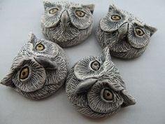 4 Large White Owl Head Beads  peruvian ceramic by TheCraftyBead