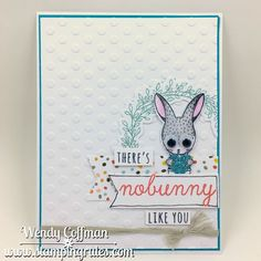 There's nobunny like you handmade card: Close To My Heart February Stamp of the Month -Easter Bunny. Dot folder to emboss White Daisy background, added wreath image with the coordinating Thin Cuts die. The dotted paper is from the new Dreamin' Big paper line. Image stamped with Memento Tuxedo Black and colored watercolor pencils, blending with a small waterbrush.