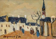 Georges Borgeaud - Eglise (Bretagne), 1978 - Huile sur toile, 15x22,5 cm. Painting, Art, Oil On Canvas, Brittany, Art Background, Painting Art, Kunst, Paintings, Performing Arts
