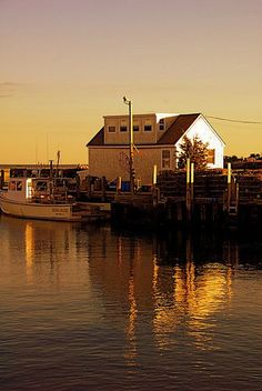 Lobster Boats in the sun's evening glow, Guilford, CT