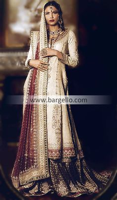 Off White Bridal Wedding Lehnga Lengha, Pakistani Lehnga Choli, Embroidered Lehnga Choli Pakistan D3589 Bridal Wear
