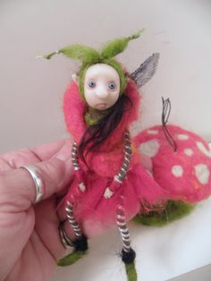 red poke-a-dot mushroom fairy  .. ooak polymer clay ( poseable ) art doll by dinkydarlings