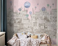 Ferris Wheel Wallpaper Nude Blue Apricot Wall Mural Ceiling Mural  Childrenu0027s Bedroom Sky Wheel Cloud Bird | Pinterest | Riesenrad, Blau Und  Kinderzimmer
