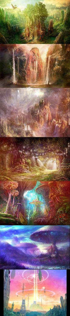 Gorgeous fantasy landscapes. #FantasyLandscape