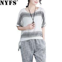16 Camisetas algodón Vintage de fiable rayas tops camiseta Camisa mujeres Blusas de Kimono 2018 de NYFS nuevo verano lino mujeres Comprar 5 ravRr