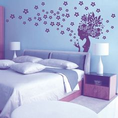 Stylish Floral Girl Pattern Wall Sticker For Bedroom Livingroom Decoration #jewelry, #women, #men, #hats, #watches, #belts