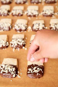 Macadamia Shortbread Cookies Dipped In Chocolate Macadamia Nuts
