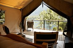 The Luxury Safari Tent at Sakinaw Lake Lodge - Sunshine Coast, BC - very reasonably priced! Luxury Tents, Luxury Camping, Boutique Homes, Vacation Home Rentals, Lodges, British Columbia, Glamping, Places To Go, Beautiful Places