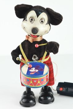 Vintage Linemar Marx Tin Drumming Mickey Mouse Battery