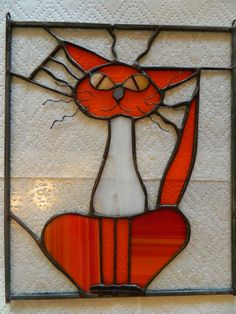 Stained Glass Panel Orange Cat от StainedGlassRoxanneK на Etsy
