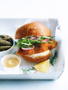 crispy fish burgers with radish and cornichons from Donna Hay