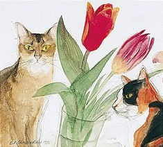 Cats and Tulips, Elizabeth Blackadder. English, born in 1931.