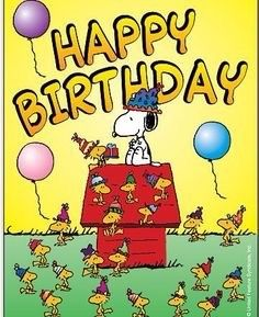Happy Birthday - Snoopy, Woodstock and Friends Wearing Birthday Hats With Balloons Floating Nearly Happy Birthday Snoopy Images, Happy Birthday Pictures, Happy Birthday Messages, Happy Birthday Quotes, Happy Birthday Greetings, Birthday Wishes, Peanuts Happy Birthday, Funny Birthday, Birthday Hats