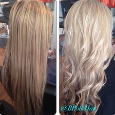 Before & after - @bpolkhair - Beaux Art Salon, Charlotte NC #blonde #curls
