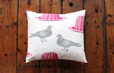 Pigeon and jelly cushion  www.waringsathome.co.uk