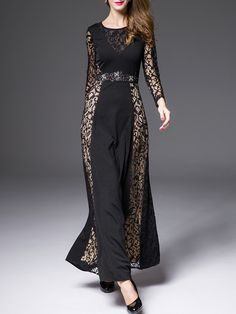 Black Round Neck Long Sleeve Contrast Lace Beading Dress 71.06
