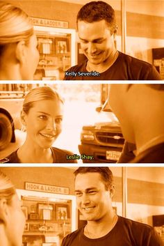 Kelly Severide and Leslie Shay meeting for the first time.