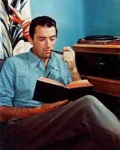 Gregory Peck with a pipe and a book, in vivid color!