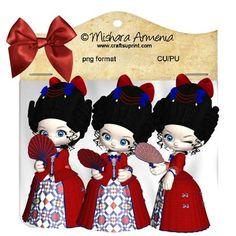 Rococo red blue dress kit 2 on Craftsuprint designed by Mishara Armenia -