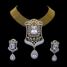 Indian CZ AD Gold & Silver Tone Bollywood Necklace Bridal Ethnic Swam Jewelry596 #Unbranded