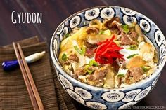 Japanese comfort food, easy Gyudon recipe can be prepared quickly and has nutritious ingredients such as beef, onion, eggs, and rice,