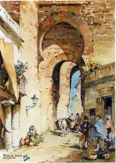 M. FDEZ. GARCÍA 1 Más Watercolor Art Landscape, Landscape Paintings, Watercolor Paintings, Classic Paintings, Great Paintings, Spanish Art, Arabic Art, City Landscape, Pencil Art Drawings