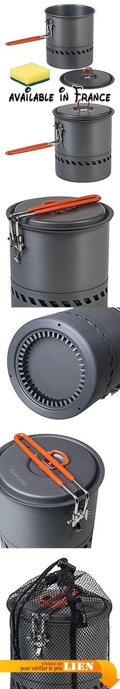 B0779V5TZQ : AceCamp HE Faitout ultra-léger305g Chaudron casserole échangeur de chaleur l'énergie efficace aluminium anodisé 15l anthracite 1663. Chauffe rapide grâce à l'échangeur de chaleur au fond du faitout et permet ainsi 30% le carburant et un temps précieux. Poids: 305g seulement-mais 15L Volume. De haute qualité en aluminium anodisé ce qui rend la bouilloire est anti-rayures résistant et facile à nettoyer. Les poignées
