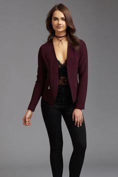 Bold burgundy Open Jacquard Blazer with Zips
