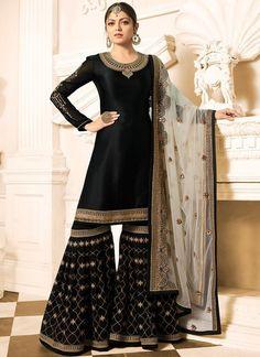 Black Beauty Overall Designer Gharara Palazzo Suit - Hatkay