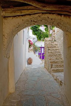 Folegandros Greece - Scene from the famous old Chora packed with little squares to idle away the days.