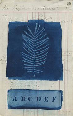 cyanotype on found paper