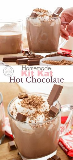 Homemade Kit Kat Hot Chocolate   #chocolate #hotchocolate #vegetarian #KitKat #drink   This homemade hot chocolate uses finely ground KitKat bars that are then used to make the hot cocoa! Completely vegetarian. Make sure to top with lots of extra Kit Kat chocolate bar pieces! And if you are feeling frisky, feel free to add some alcohol :) Hot Chocolate Bars, Homemade Hot Chocolate, Hot Chocolate Recipes, Chocolate Desserts, Shake Recipes, Kit Kat Recipes, Smoothie Recipes, Holiday Recipes, Holiday Foods