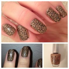 Intricate stamped mani. Nail Polish: OPI - DS Classic, Konad Special Stamping Polish - Black, Seche Vite - Dry Fast Top Coat