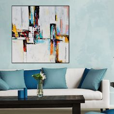 Square Abstract Painting, Large Handmade Abstract Painting On Canvas, Contemporary Wall Art White Red Orange Aqua Blue Contemporary Abstract Art, Contemporary Style, Ship Paintings, Abstract Paintings, Wall Art For Sale, Unique Wall Art, Hand Painting Art, Minimalist Art, Aqua Blue