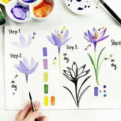 Watercolor Flowers Tutorial, Step By Step Watercolor, Easy Watercolor, Watercolour Tutorials, Watercolor Cards, Flower Tutorial, Floral Watercolor, Painting Tutorials, Simple Watercolor Flowers